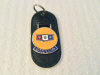 Craftsman White Vintage Leather Torpedo Keychain Key Fob Ford Mustang