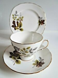 VINTAGE TEA TRIO - QUEEN ANNE - MADE IN ENGLAND - AUTUMN LEAVES