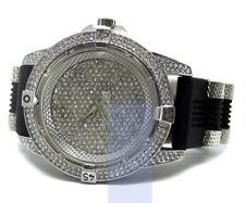 Millionaires Faux Diamond Bezel Black Rubber Strap HipHop Bling Watch