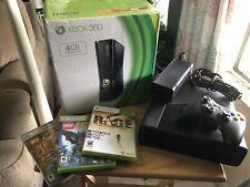 Xbox 360 S 4Gb Black Console Model 1439 - Bundle Controller, Cables & 3 Games