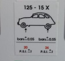 Citroen 2CV tyre pressure sticker decal adhesive x 2 UK supplier free P+P UK