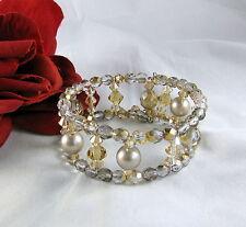 Crystal & Faux Pearl Beaded Wrap Style  Bracelet  FERAL  CAT RESCUE