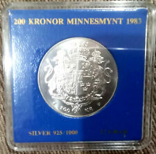 More details for 1983 200 kronor  carl xvi gustaf  .925 silver coin 27 grms - commemorative issue