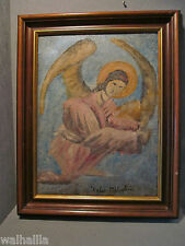 altes  Ölgemälde auf Leinwand  Engel Erzengel Schutzengel