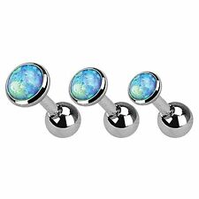 Cartilage Tragus Earring Stud Created-Opal Barbell 16G (1.2mm) Set of 3
