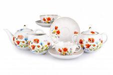 Russian Porcelain Tea set Dulevo Red Flowers 6 pers 15 pc Kuznetsov Porcelain