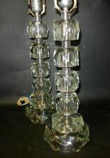 Super Tall ART DECO Pr Lamps Faceted Glass Cube Blocks Chrome Spacers