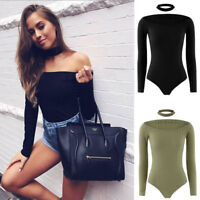 Women Long Sleeve Bandage Bodysuit Leotard Tops Blouse Jumpsuit Rompers