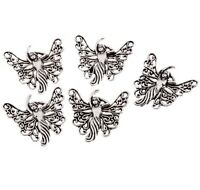 butterfly lady Tibetan Silver Bead charms Pendants fit bracelet 10pcs 25*25mm