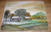 AMERICANA VINTAGE FOLK ART FARM HOUSE COWS LANDSCAPE STREAM PRIMITIVE PAINTING
