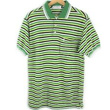 Vintage Yves Saint Laurent YSL Green Stripes Spell Out Patch Logo Polo Shirt