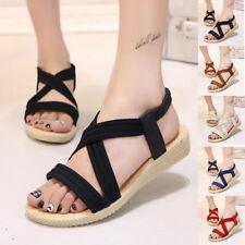 Women Ladies Wedge Low Heel Slingback Strappy Gladiator Sandals Summer Shoes TX