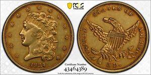 1834 PCGS AU50 Classic Head Plain 4 $5 Gold