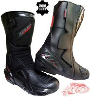 BLACK HAWK HIGH TECH MENS MOTORBIKE / MOTORCYCLE RACING LEATHER SHOES / BOOTS
