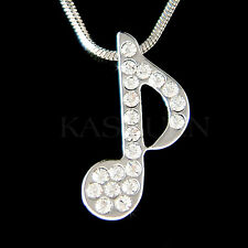 w Swarovski Crystal Piano MUSIC musical ~Eighth NOTE Quaver Necklace New Jewelry