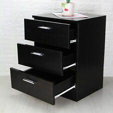 Modern Bedside Table Black 3 Drawer Cabinets Units Nightstand With 3 Drawers