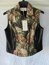 Two by Vince Camuto Vest- Asym Zip Front -Dark Leaf & Pleather -Medium-NWT $149