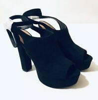 Womens Black Heels Shoes Size 6 Tie Up Peep Toe Truffle Collection New