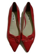 MIUMIU red patent pointed bow flats sz 37