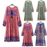 Vintage-70s Hippie INDIA ETHNIC Loose Fit Womens BOHO Floral Bib Midi DRESS Folk