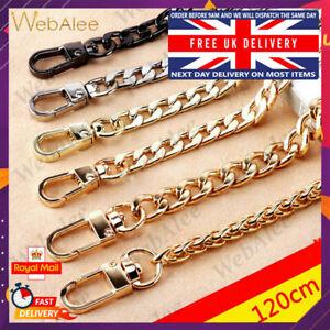 Replacement Chain Bag Strap for Cross Body Shoulder Bag 120cm Flat Metal UK