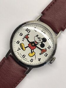 Vintage Mickey Mouse Mens Wrist Watch 34mm 1970s Bradley Fat Boy Pie Eye Working