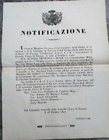 1847 FIRENZE NOTIFICAZIONE FRANCESCO CAIMI NOMINA UFFICIALI DELLA GUARDIA CIVICA