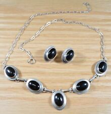 Ella Peter Navajo Sterling Silver Onyx Necklace and Matching Earrings X464B