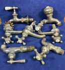 7 Antique Faucets, Porcelain Caps ~ Helicopter Handles, Nickel Plated Brass