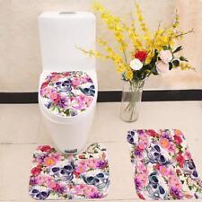 Bathroom Mat Set Skull Floral Printed Coral Velvet Anti Slip Toilet Seat Cover