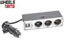 5 Way 12v or 24v 3 Way Car Lighter Multi Socket Twin 5V USB Ports Charger Adapte
