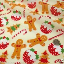 per metre Cream Gingerbread man & Christmas puddings  polycotton fabric