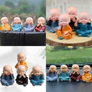 4X Monk Garden Ornament Buddha Cute Car Decor Statue K8S9 Miniature Craft G3C9