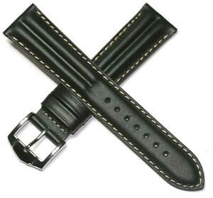 WATERPROOF GENUINE LEATHER RIBBED WATCH STRAP 18 - 22MM FROM ROCHET FRANCE