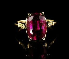 OVAL RARE NATURAL 5.0ct RUBELLITE RED TOURMALINE & DIAMOND 14K YELLOW GOLD RING