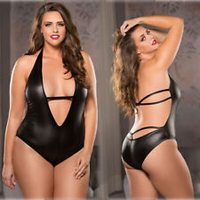 Plus Size S-XL Womens Sexy Lingerie Black Deep V Neck PVC Leather Bodysuit Teddy