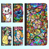 Galaxy Note 9 8 S9 S8 Plus S7 Leather Flip Wallet Case Disney Princess Cover