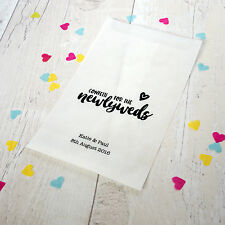 10x personalised 'newlyweds' confetti bags for wedding, party, favours