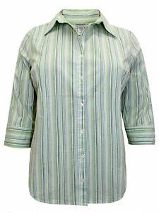 Fashion Bug Green Striped 3/4 Sleeve Cotton-Rich Blouse/Shirt - BNIP
