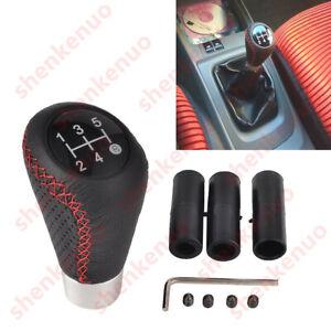 5 Speed Leather Aluminum Manual Car Gear Shift Knob For Circular Gear Lever