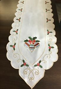Ornaments & Holly White Polyester Christmas Table Runner