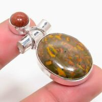 Charming Fruit Jasper, Sunstone Handmade Ethnic Style Jewelry Pendant 1.97""