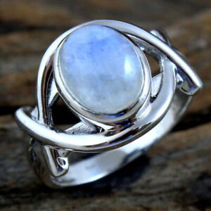Moonstone Gemstone 925 sterling Silver Jewelry Solid Beautiful Ring Size US 7