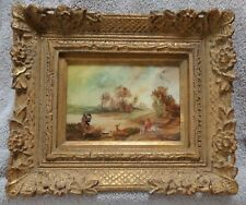 Vintage Oil on Board Country Hunting Landscape Painting in Gold Frame