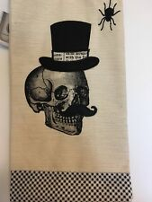 2 HALLOWEEN KITCHEN TEA TOWELS MUSTACHE SKULL WITH TOP HAT EMBROIDERED SPIDER.