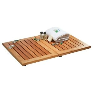 Foldable Bamboo Floor and Shower Mat with Non-Slip Bottom & Mold Resistant