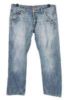 Vintage Lee Ripley 3-Neddle Mid Waist Unisex Denim Jeans W34 L32 Blue - J4739