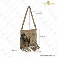 Womens Designer Suede Leather Tassel Fringe Cowgirl Shoulder Handbag - Small