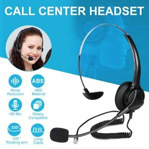Call Center Headset Telephone Corded Headphone Noise Canceling Mic For Computer