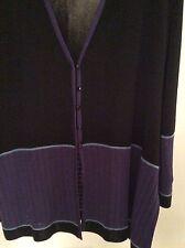 Designer knit Misook blazer, black with grape colored trIm 3x.